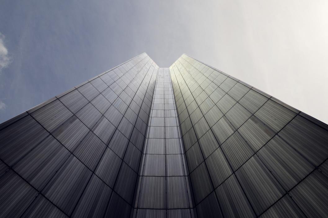 View of skyscraper from the ground up